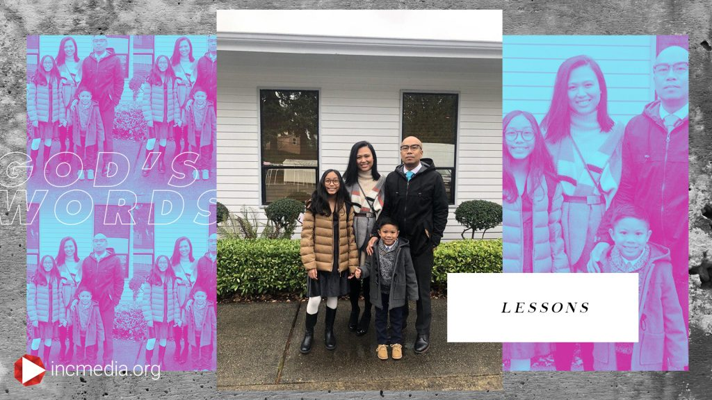A repeating image of a family with overlay text that reads, Lessons.