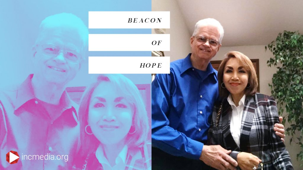 A repeating image of a man and woman smiling with overlay text, Beacon of Hope.