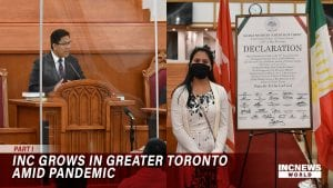 On the left, a man in a pulpit preaches to a congregation. On the right, a woman in a mask stands next to an official document.