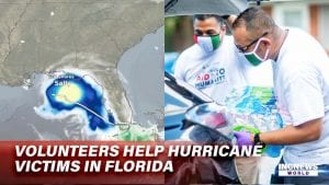 On the left, a map of a storm approaching Florida, on the right, two men with masks load a carton of water bottles into a car.