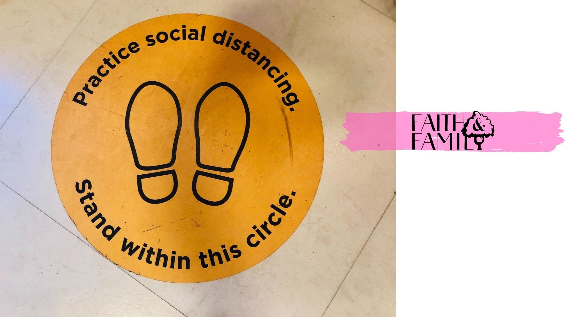 social distancing instructions on floor