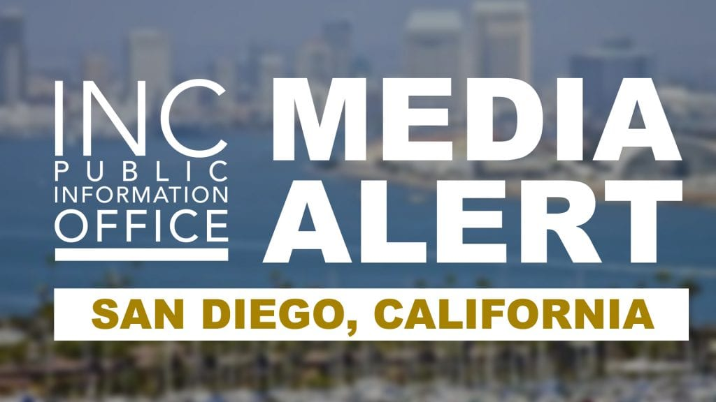 San Diego skyline meets bay with text: INC Public Information Office Media Alert - San Diego, California
