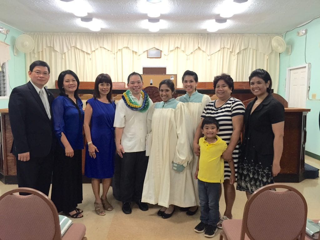 Bruce with a group of Church officers after his baptism