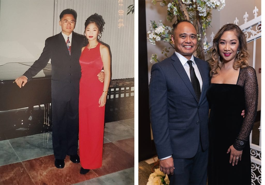 Side by side photos of a married couple at formal events.
