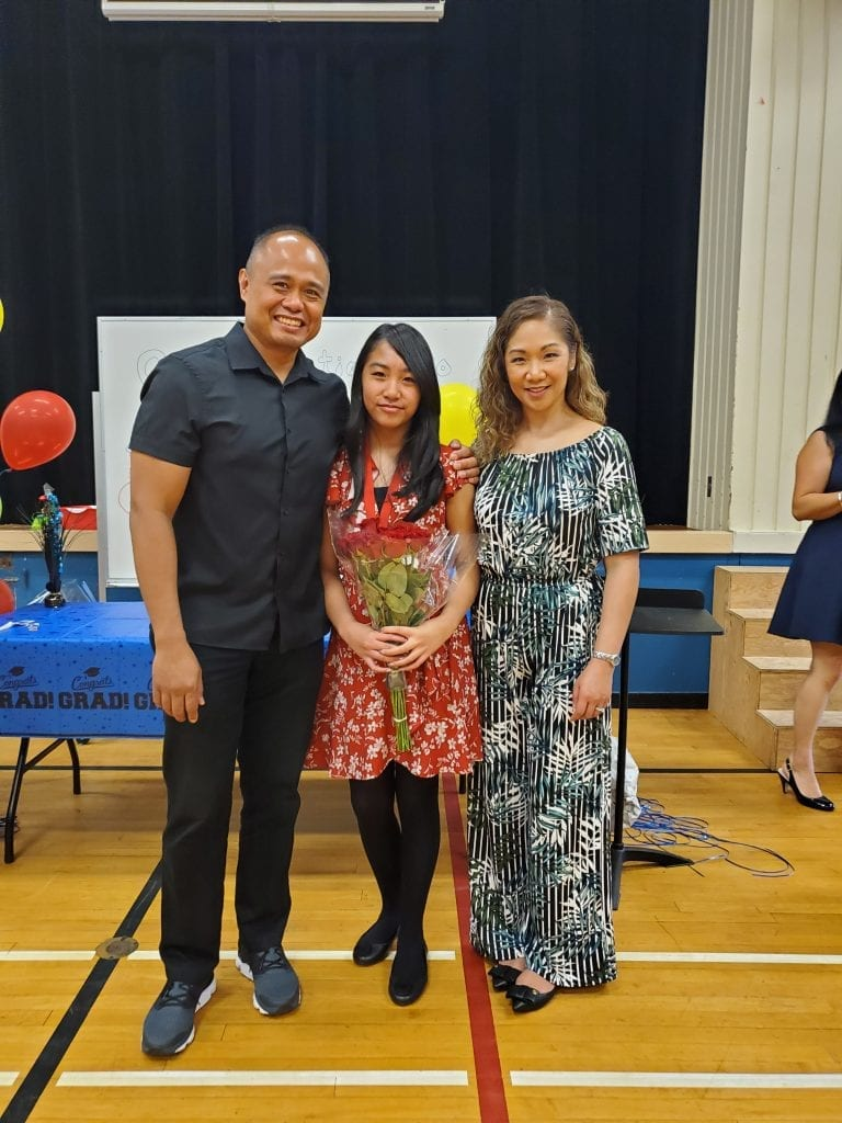 Parents with young daughter at graduation