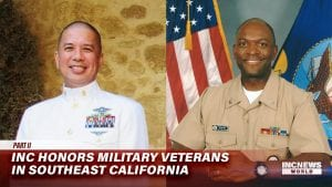 Two medium shots of military veterans pose for a portrait.