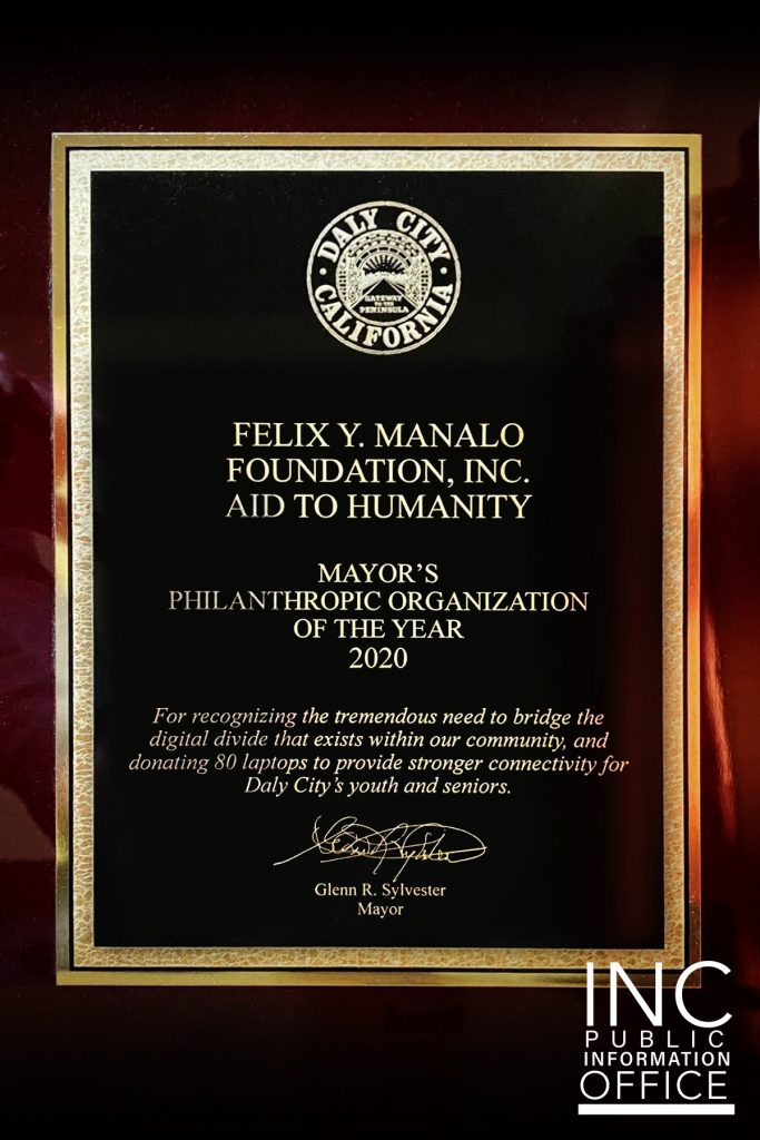 Award of Mayor's Philanthropic Organization of the Year 2020 from City of Daly City to recognize Felix Y. Manalo Foundation
