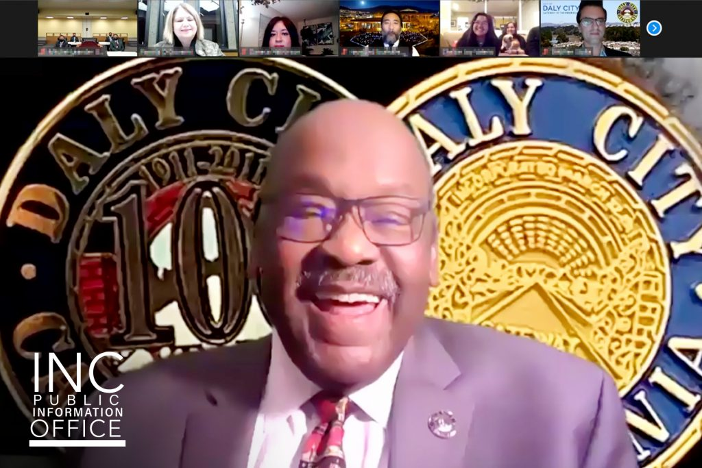 Mayor Glenn Sylvester and Daly City's City Council presents Mayor's Philanthropic Organization of the Year 2020 award to the Felix Y. Manalo Foundation, Inc. during video conferencing, virtual ceremony.
