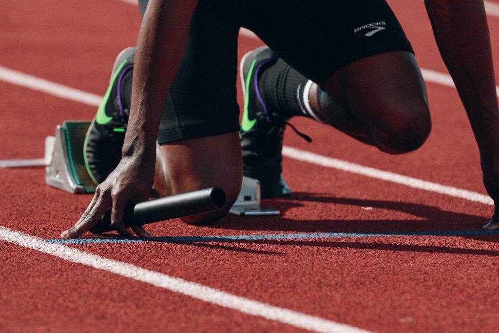 track runner starting blocks
