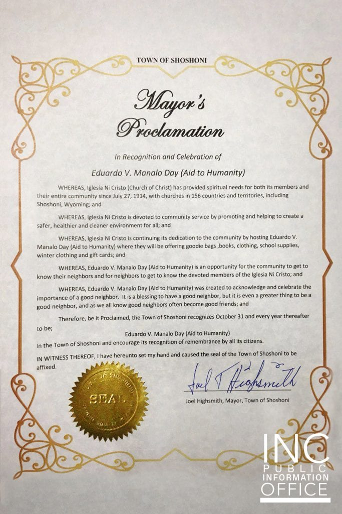 Mayor's Proclamation Certificate