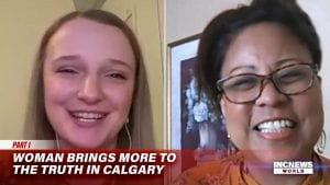 Two women smile on a video conference call.