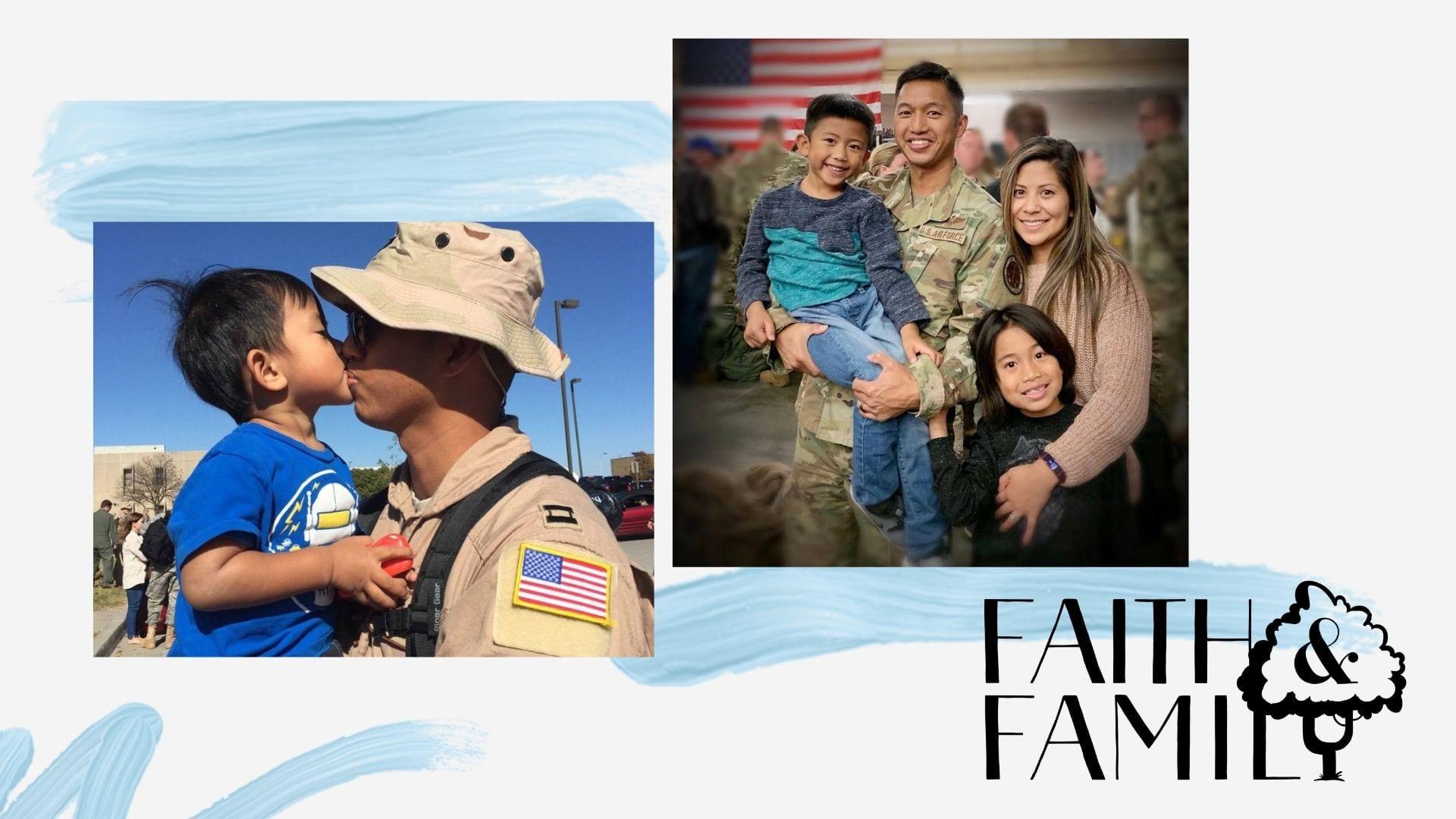 Montage of military family photos