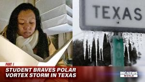 On the left, a woman in a scarf sits with an open hymn book; to the right, a Texas street sign is covered in ice.