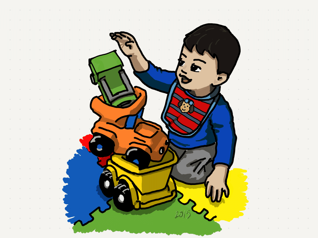 drawing of young boy stacking toys