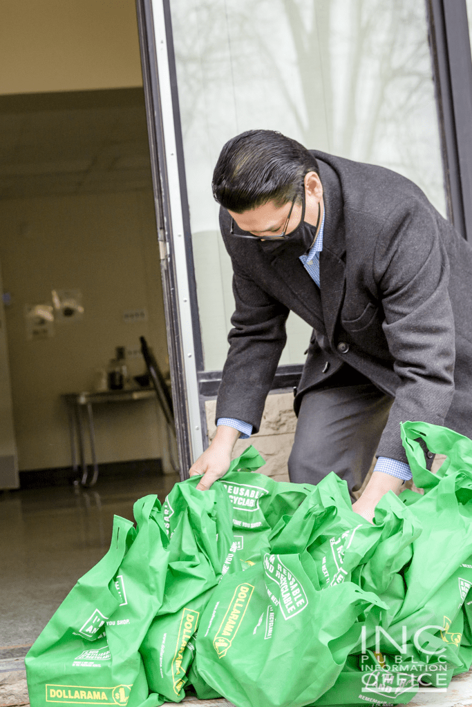 1.Bags of care packages provided by Iglesia Ni Cristo (Church Of Christ) volunteers for Arlington Haus which is a seniors' community that offers multiple housing options to these vulnerable members of society.