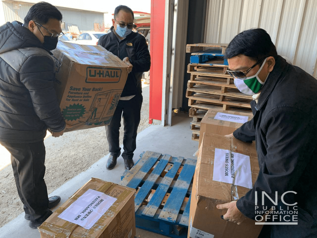 6.Care packages consisting of children's books, toys, and clothing donated and packed by INC members bound for Indigenous communities in Pauingassi and Little Grand Rapids, in Manitoba, Canada, via cargo plane.