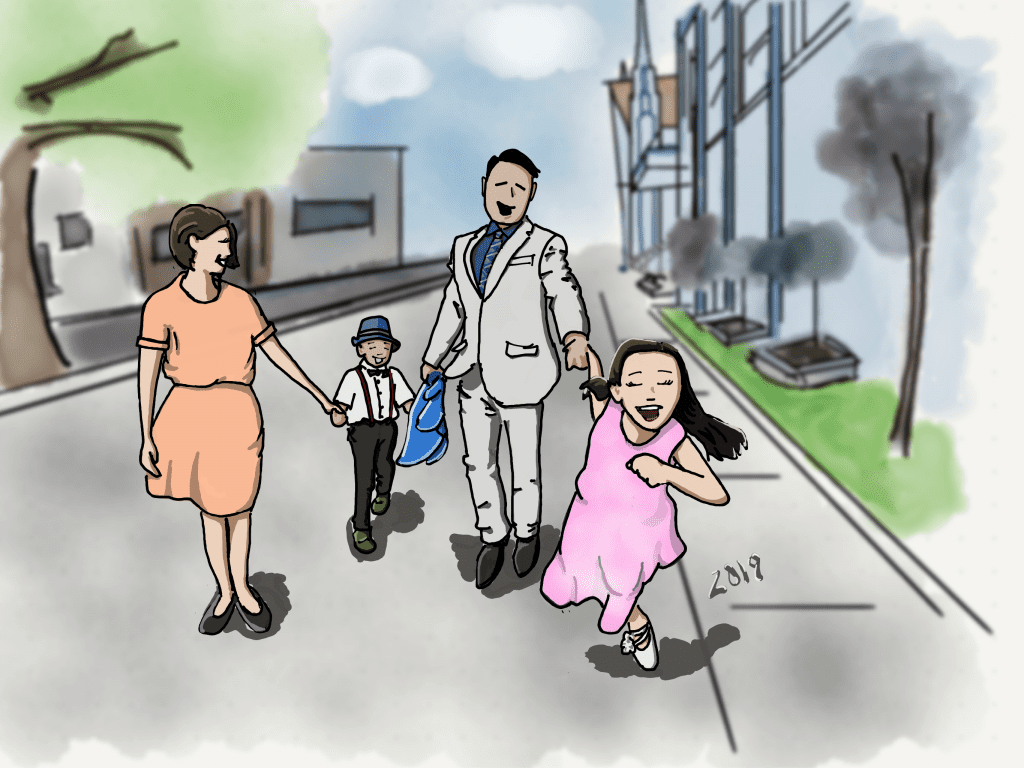 drawing of a family of four walking