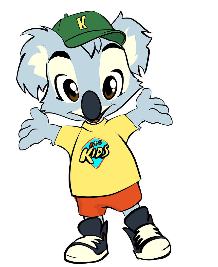 colorful drawing of a smiling koala with it's hands up