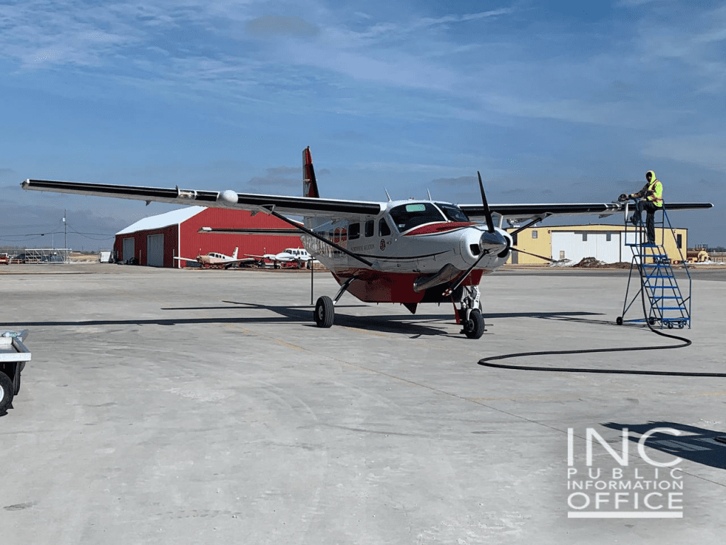 5.A cargo plane is prepped to load boxes of donations (clothing and children's books and toys) from Iglesia Ni Cristo (Church Of Christ) to Indigenous communities in Pauingassi and Little Grand Rapids, in Manitoba, Canada.