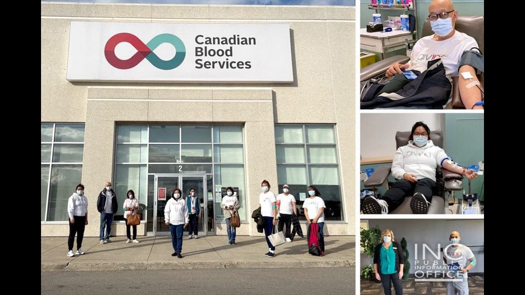 Happy volunteers from Iglesia Ni Cristo (Church Of Christ) posing in front of Canadian Blood Services building on a sunny day after their blood donation activity. For each week in May 2021, the Iglesia Ni Cristo organized groups to donate blood at Canadian Blood Services locations in Milton, Ottawa, Burlington, and Mississauga to give blood. About 200 INC members participated.
