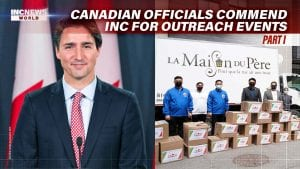 On the left, a portrait of Prime Minister of Canada Justin Trudeau; on the right, a group of men in masks and blue jackets stand to pose with boxes of donations