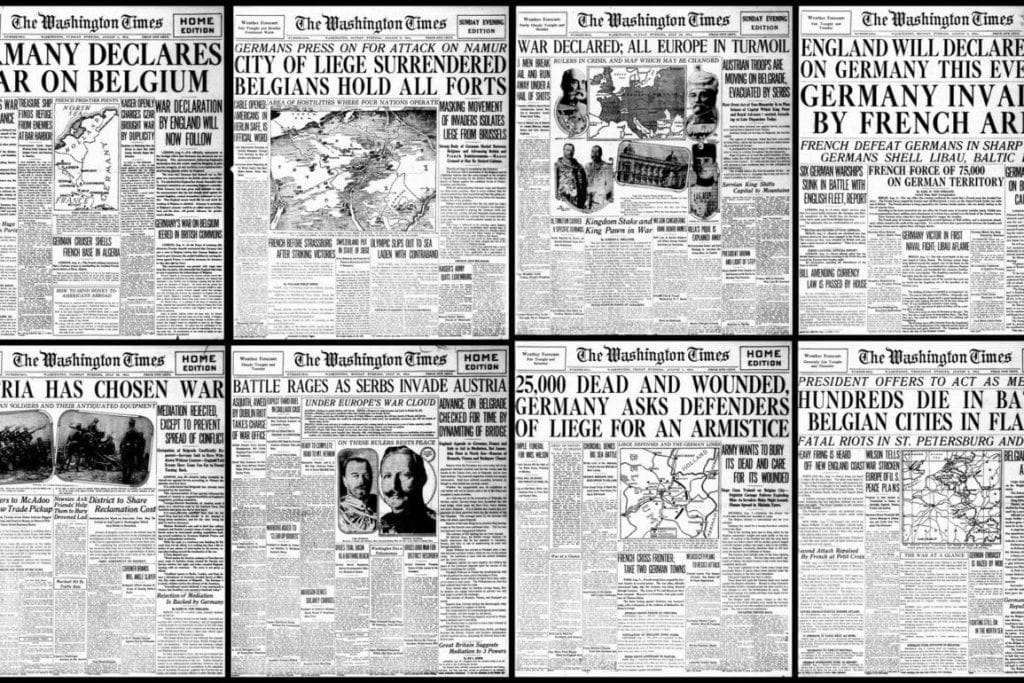 A collage of newspapers with different headlines from WWI.