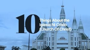 A temple with a blue tint over it with text overlay, 10 things about the Iglesia Ni Cristo (Church Of Christ).
