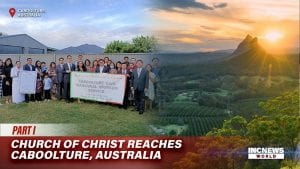 a group of people stand and pose for a photo holding a tarpal banner; on the right, a scenic photo of Caboolture mountain top and plains