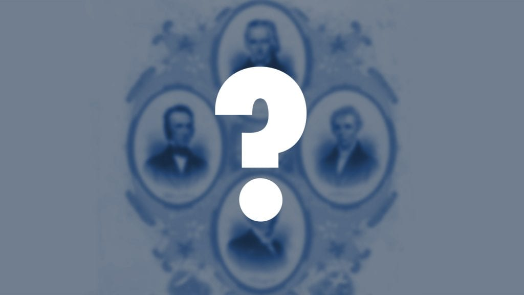 An old fashion style photo of four men with a question mark over it.
