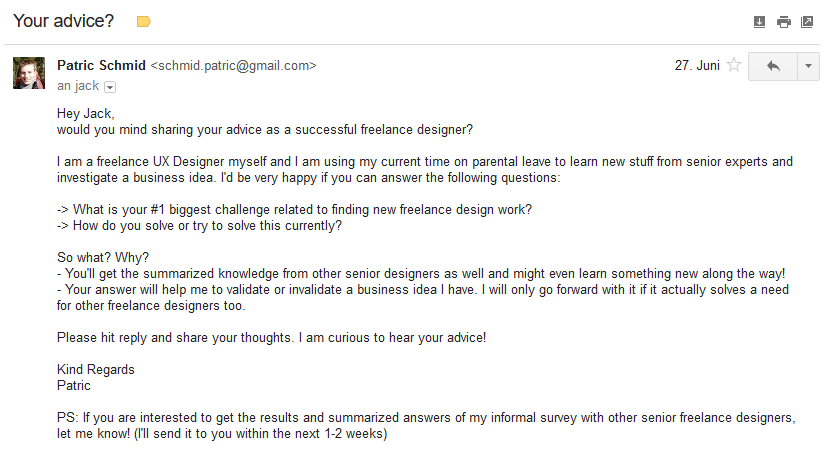 Cold email sent to a designer to validate their #1 challenge