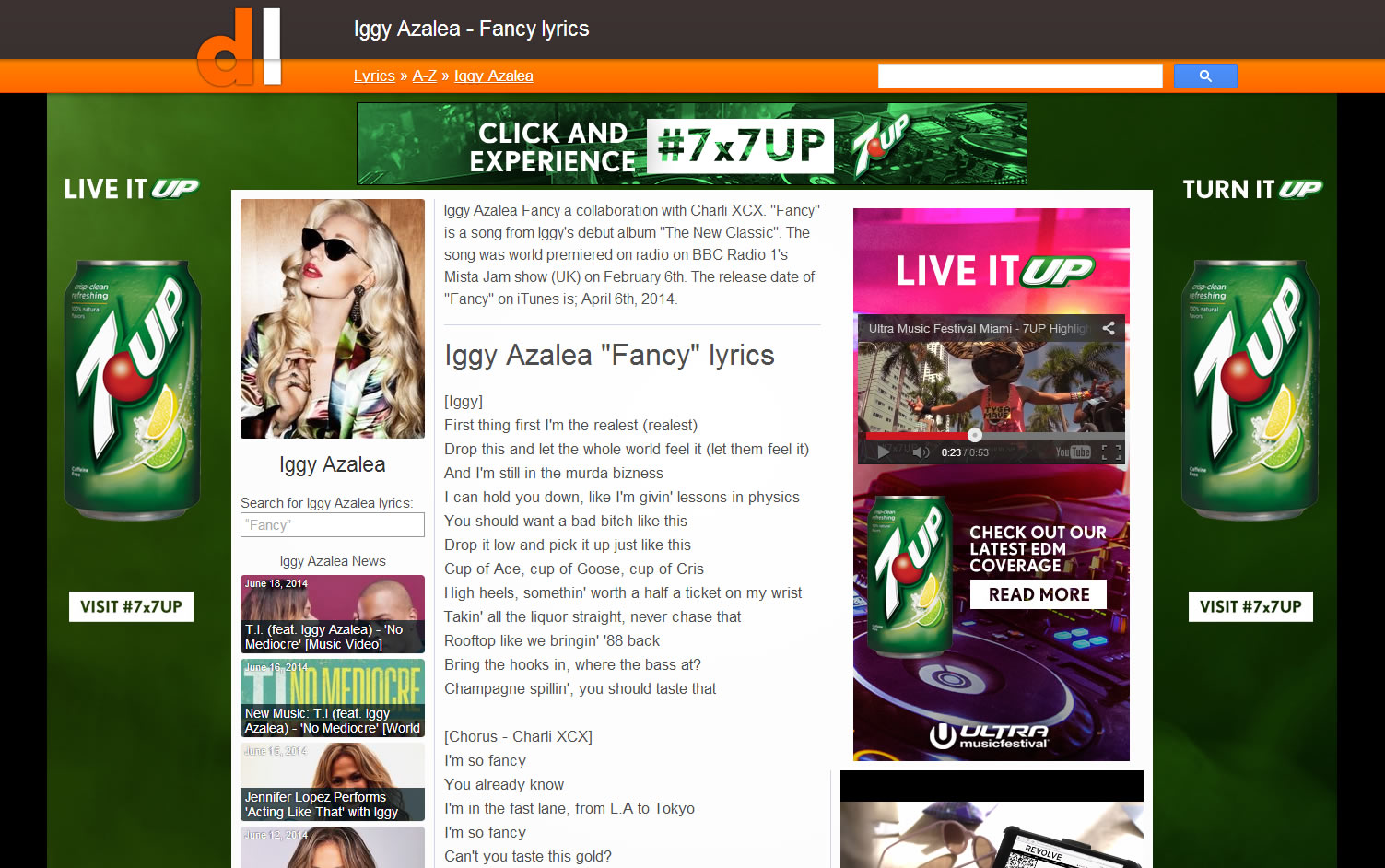 Screenshot of Directylrics.com sporting a massive advertisement for 7 Up