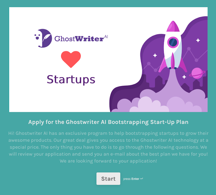 Ghostwriter's small startup offer