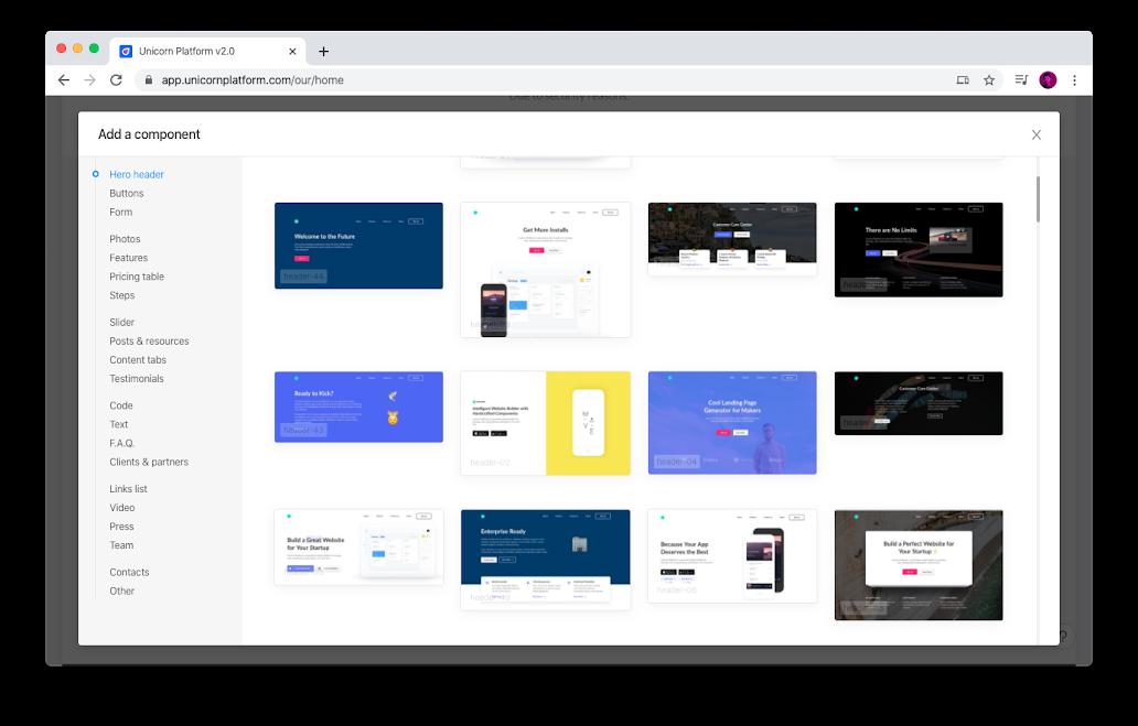 Unicorn Platform design options