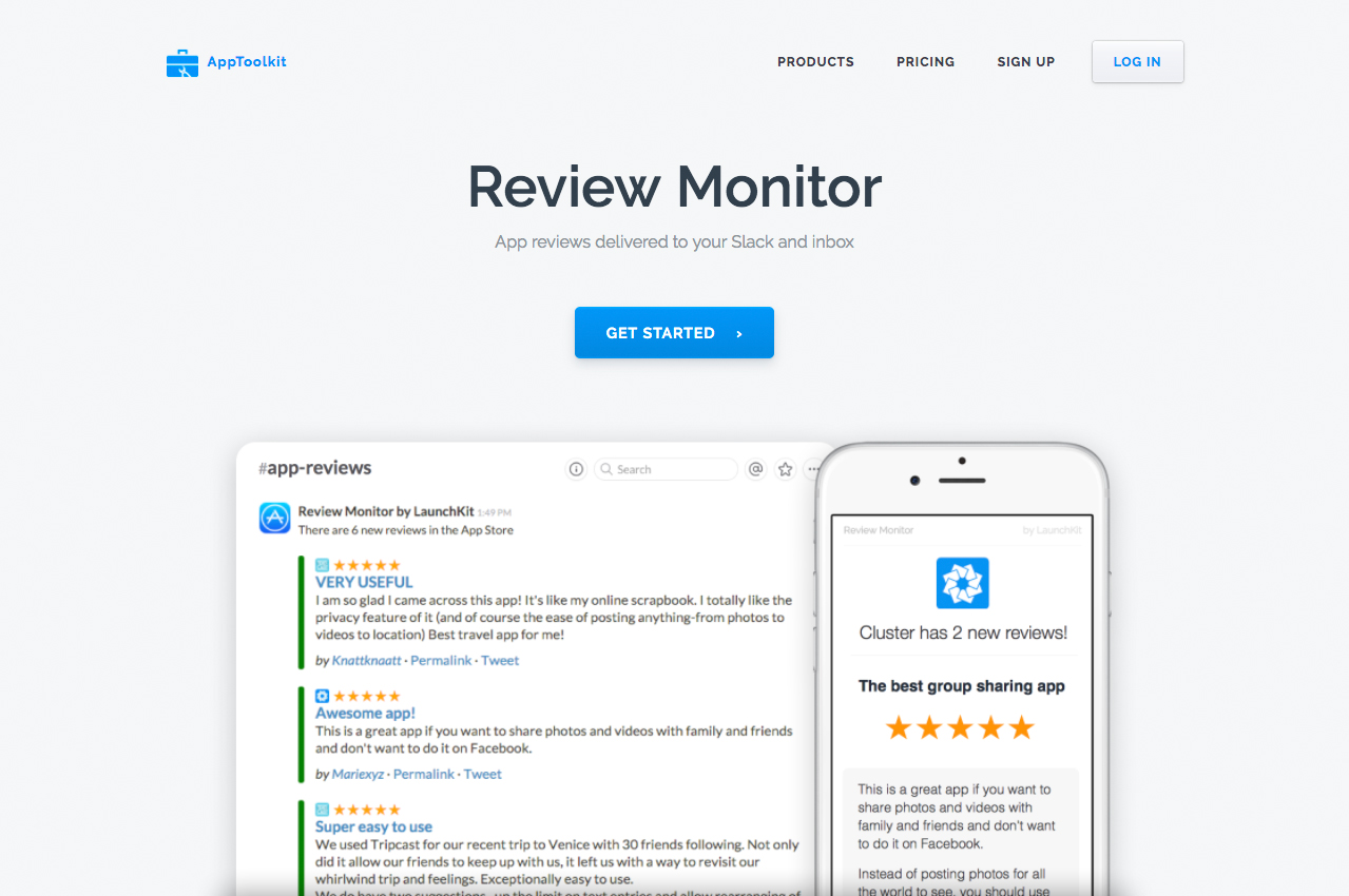 Review Monitor Landing Page