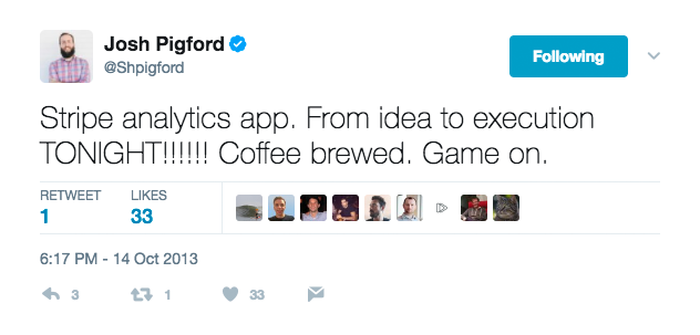 Tweet from @shpigford: Stripe analytics app. From idea to execution TONIGHT!!!!!! Coffee brewed. Game on.