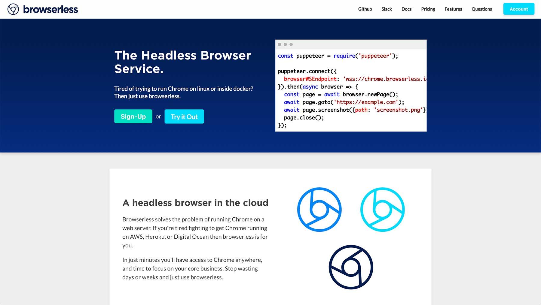 browserless homepage