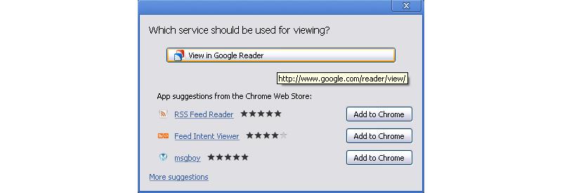 Chrome Web Intents Prompt