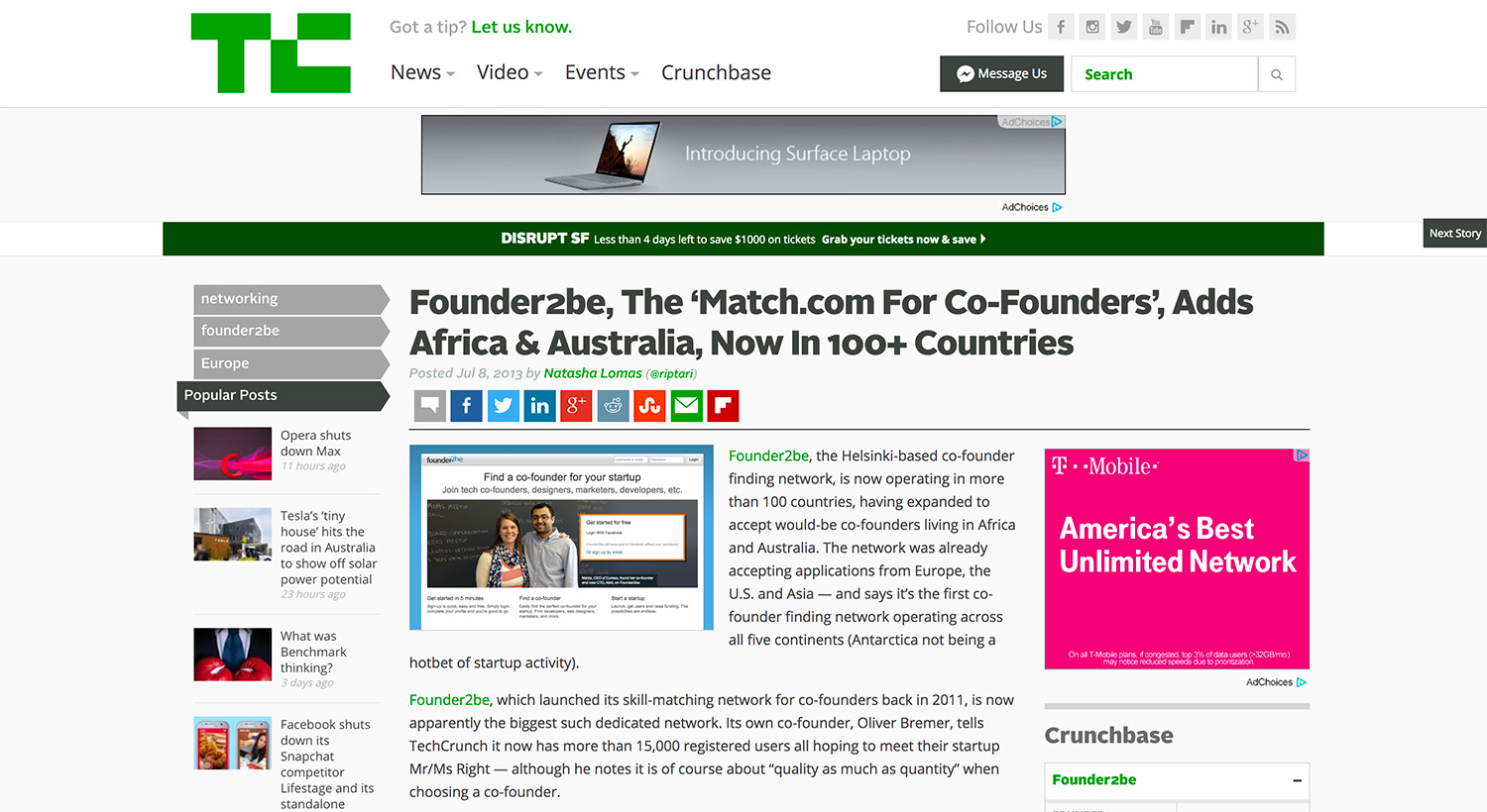 Founderdating techcrunch snapchat