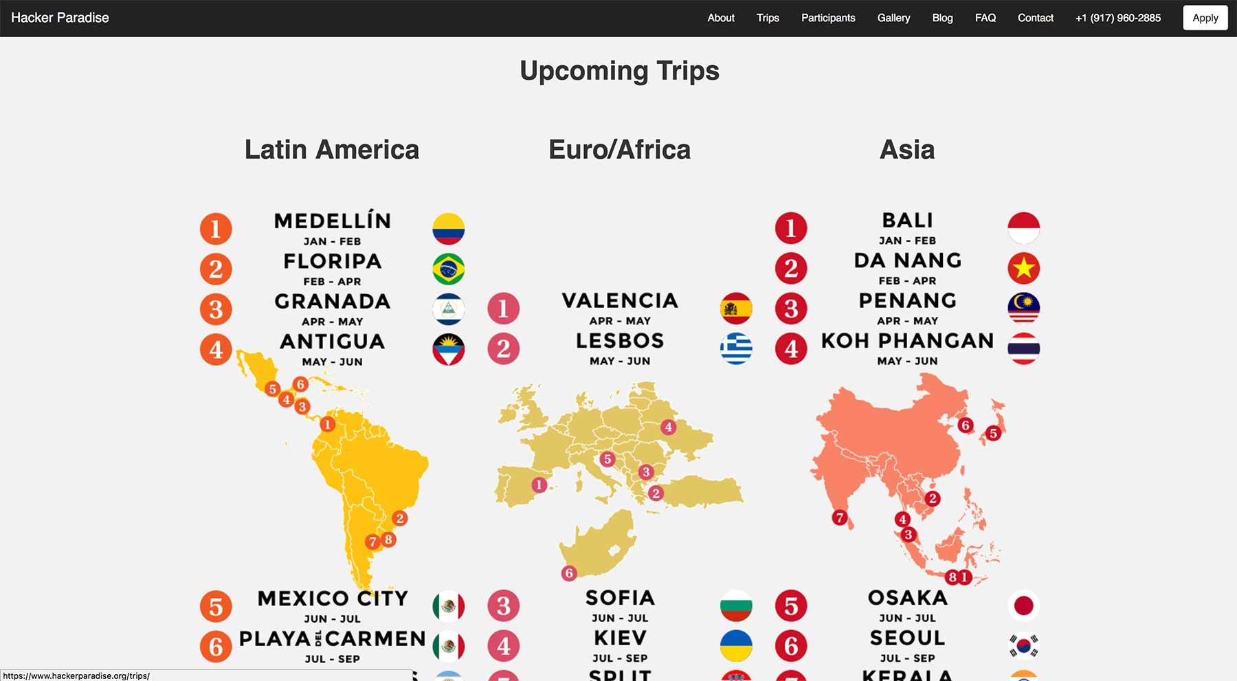 Hacker Paradise upcoming trips