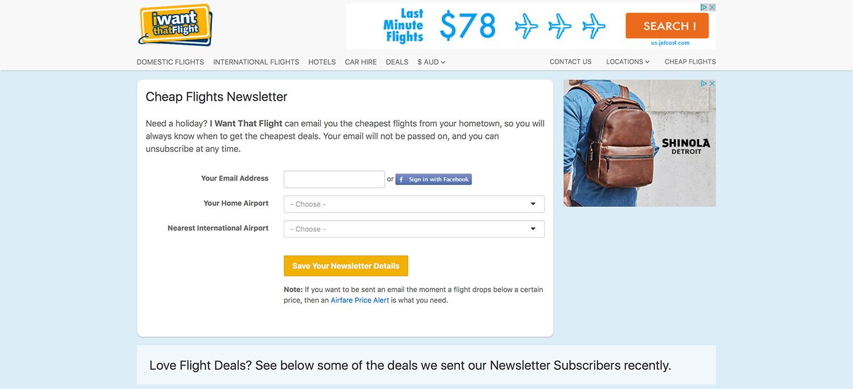 I Want That Flight Newsletter