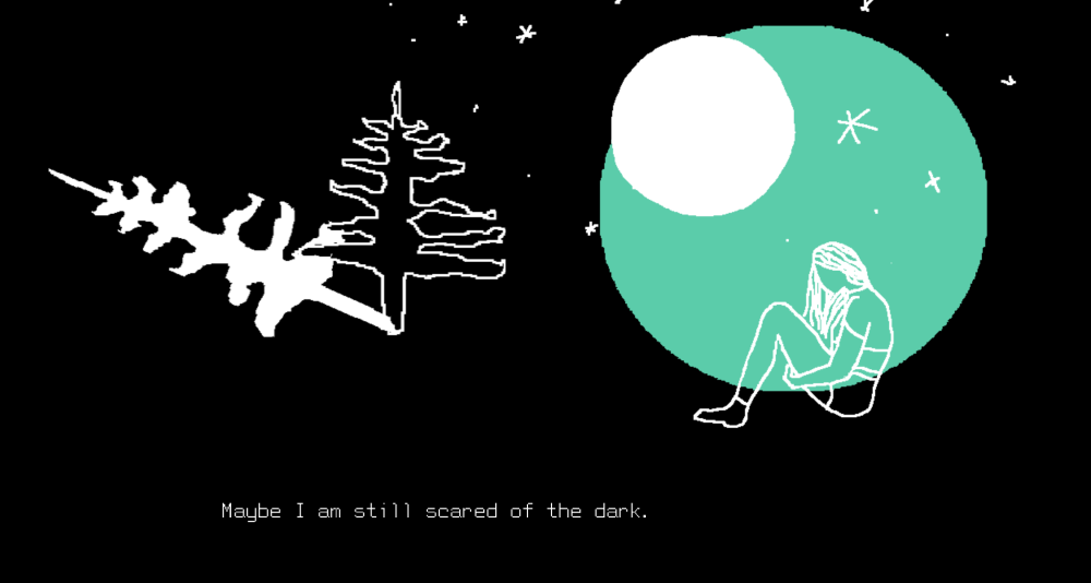 A screenshot from Kara's game The Earth is a Better Person than Me