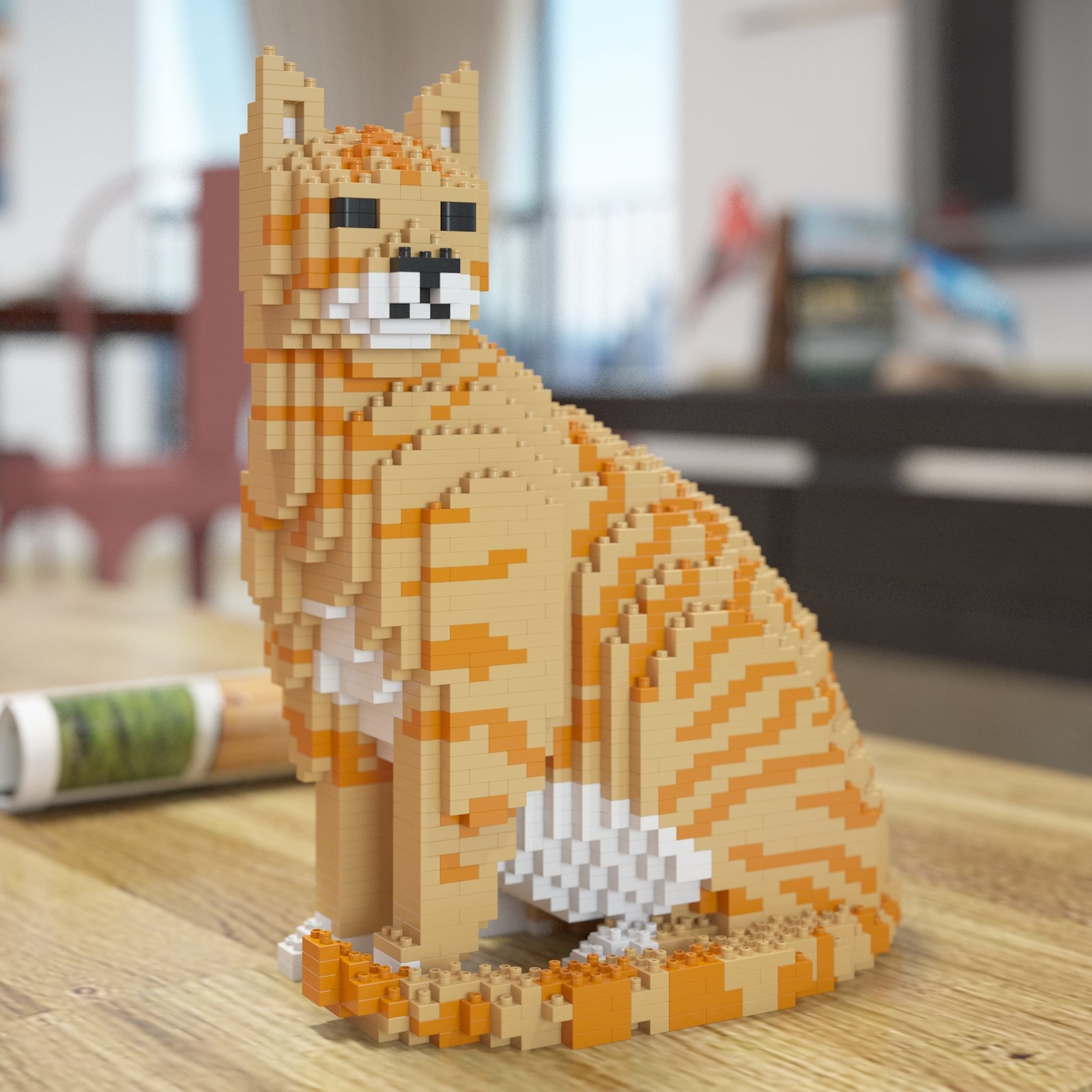 Lego-inspired Cat Sculpture