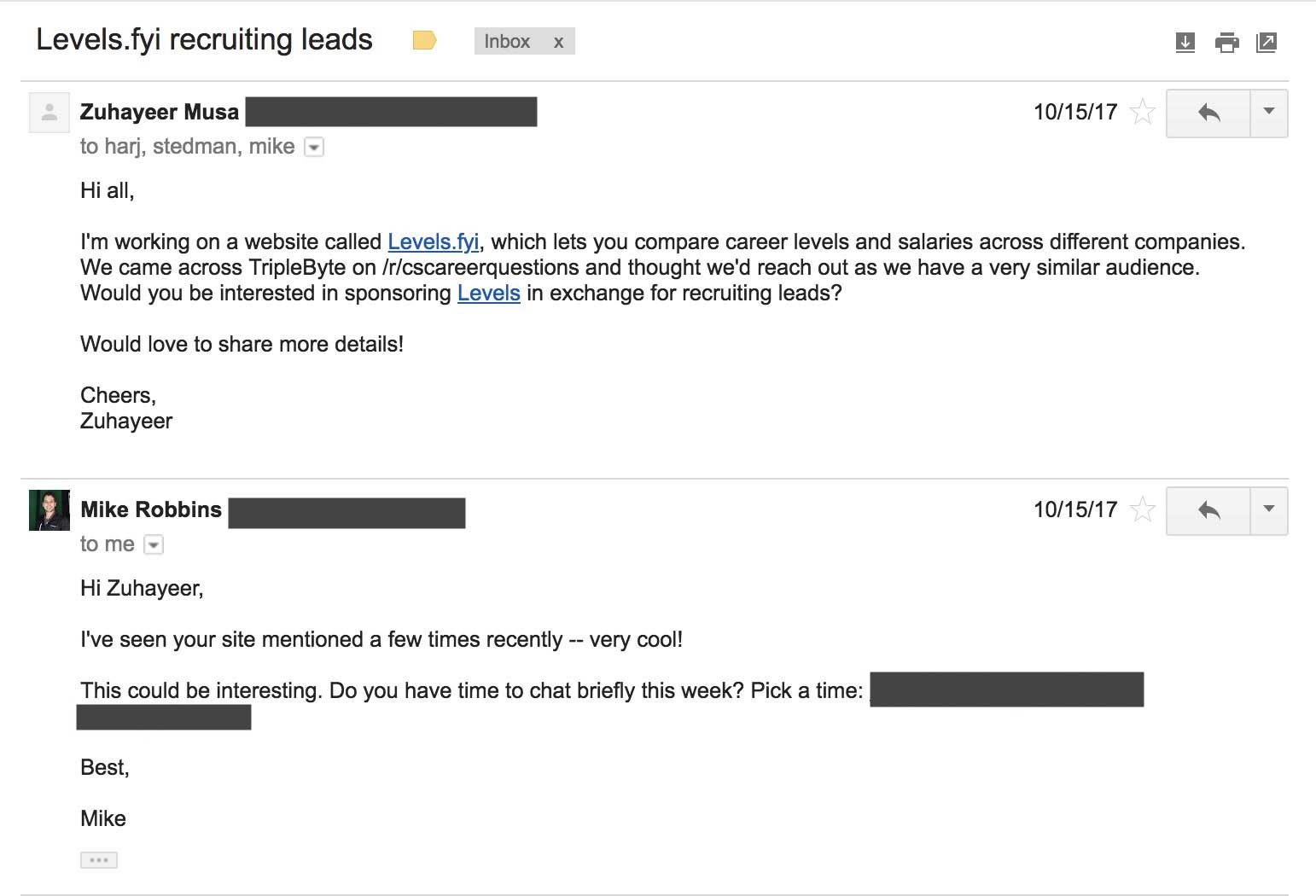 Triplebyte email screenshot
