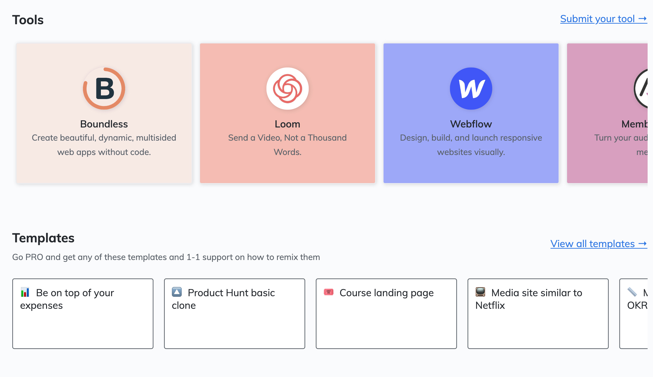 Makerpad tools and templates