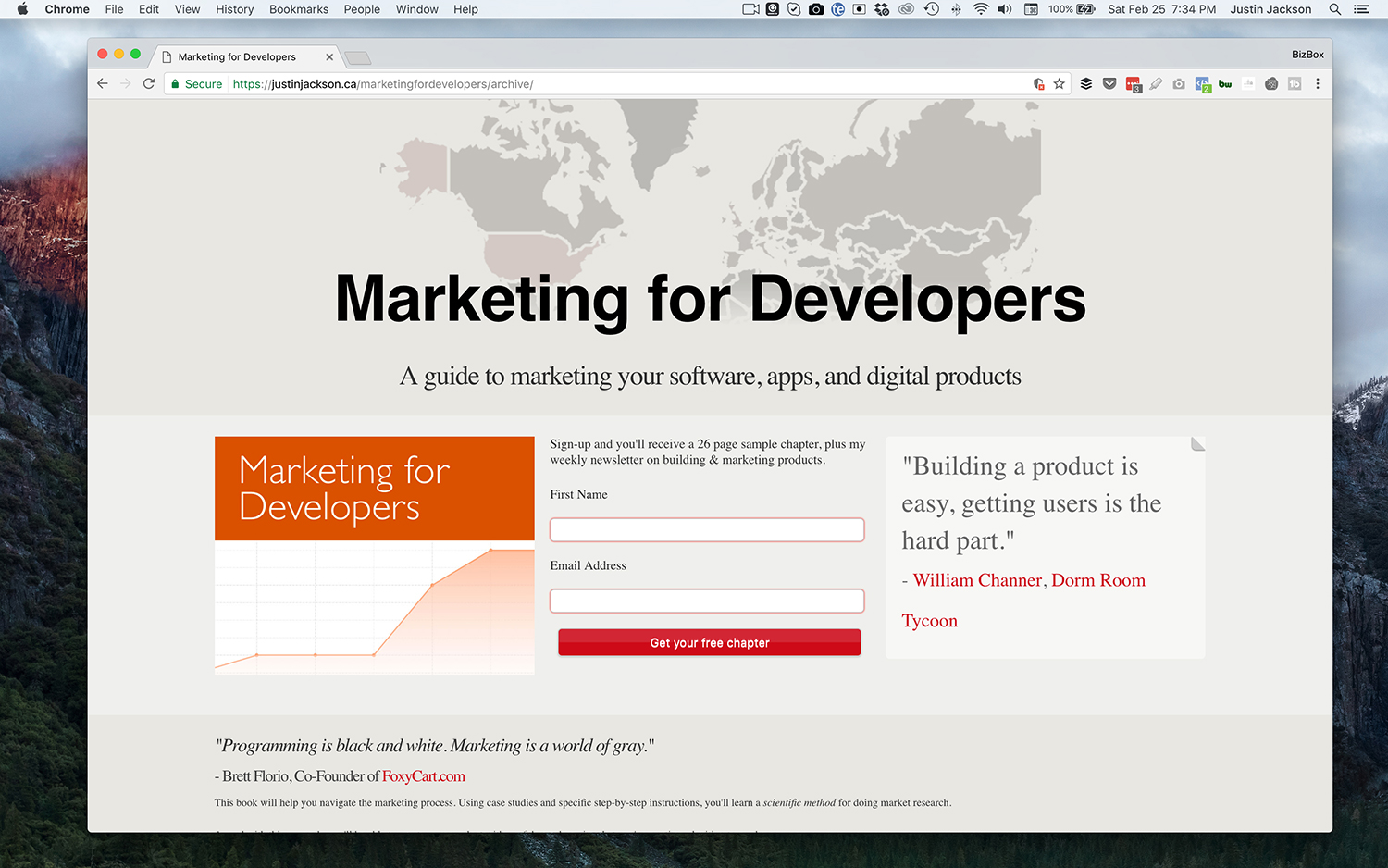 Marketing for Developers Landing Page