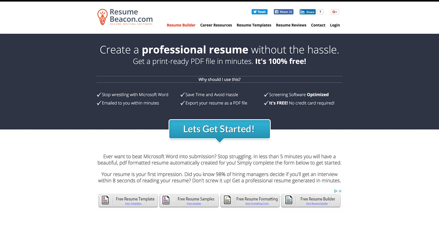 Web Resume Builder Web Resume Builder Resume Beacon Homepage