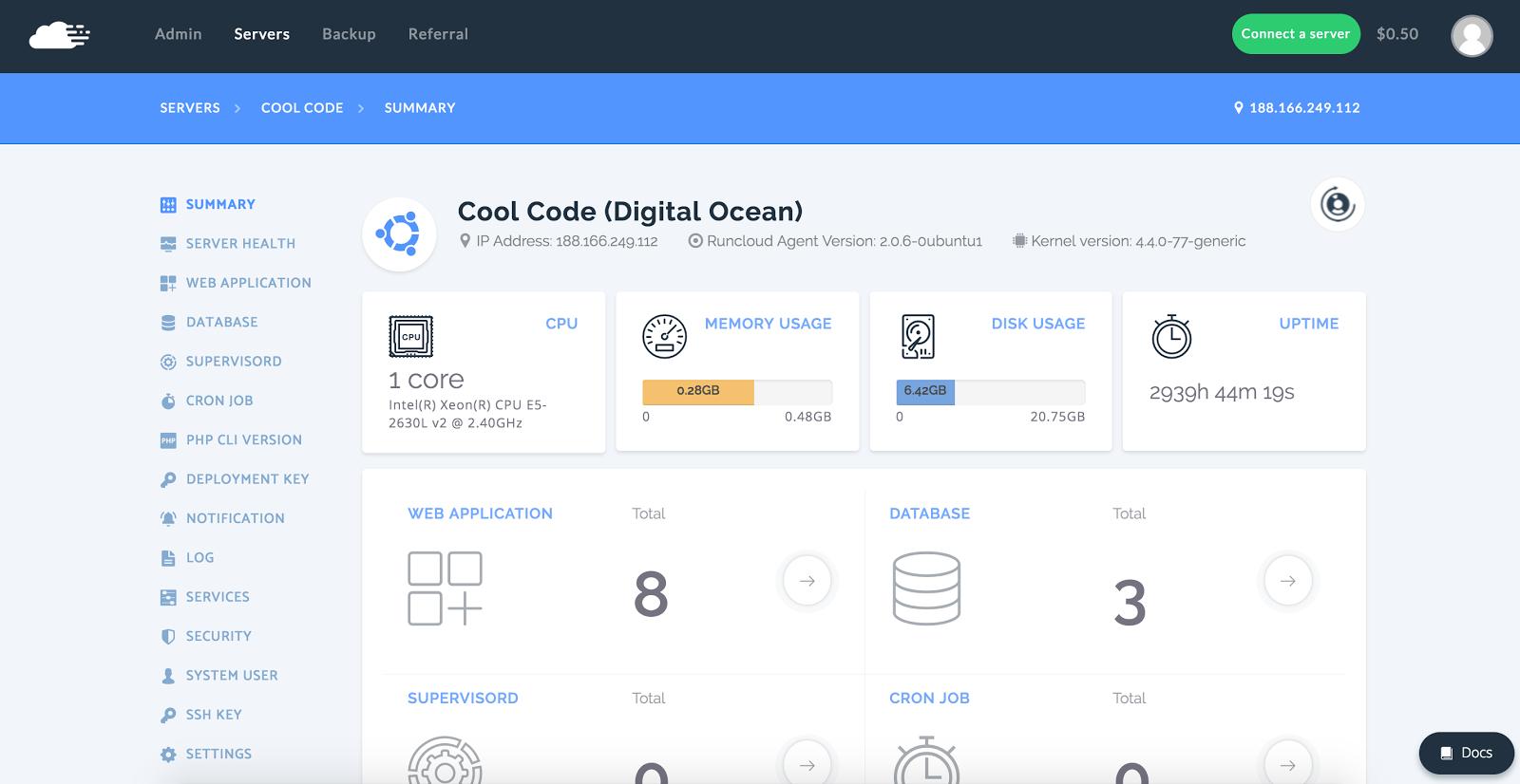 RunCloud dashboard