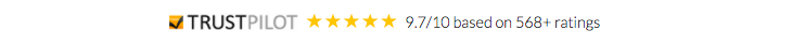SaferVPN's Trustpilot Rating: 9.7/10 Based on 568+ Ratings