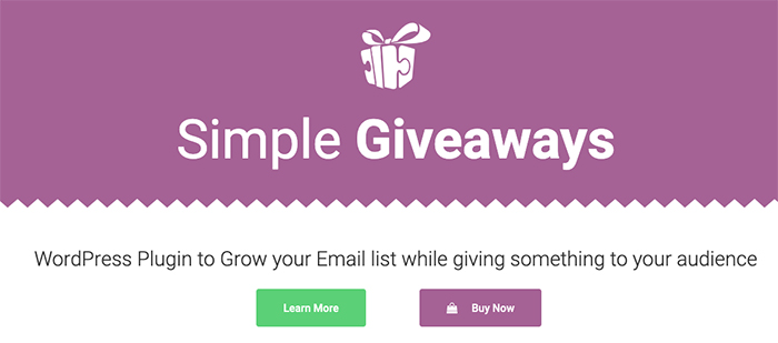 Simple Giveaways homepage