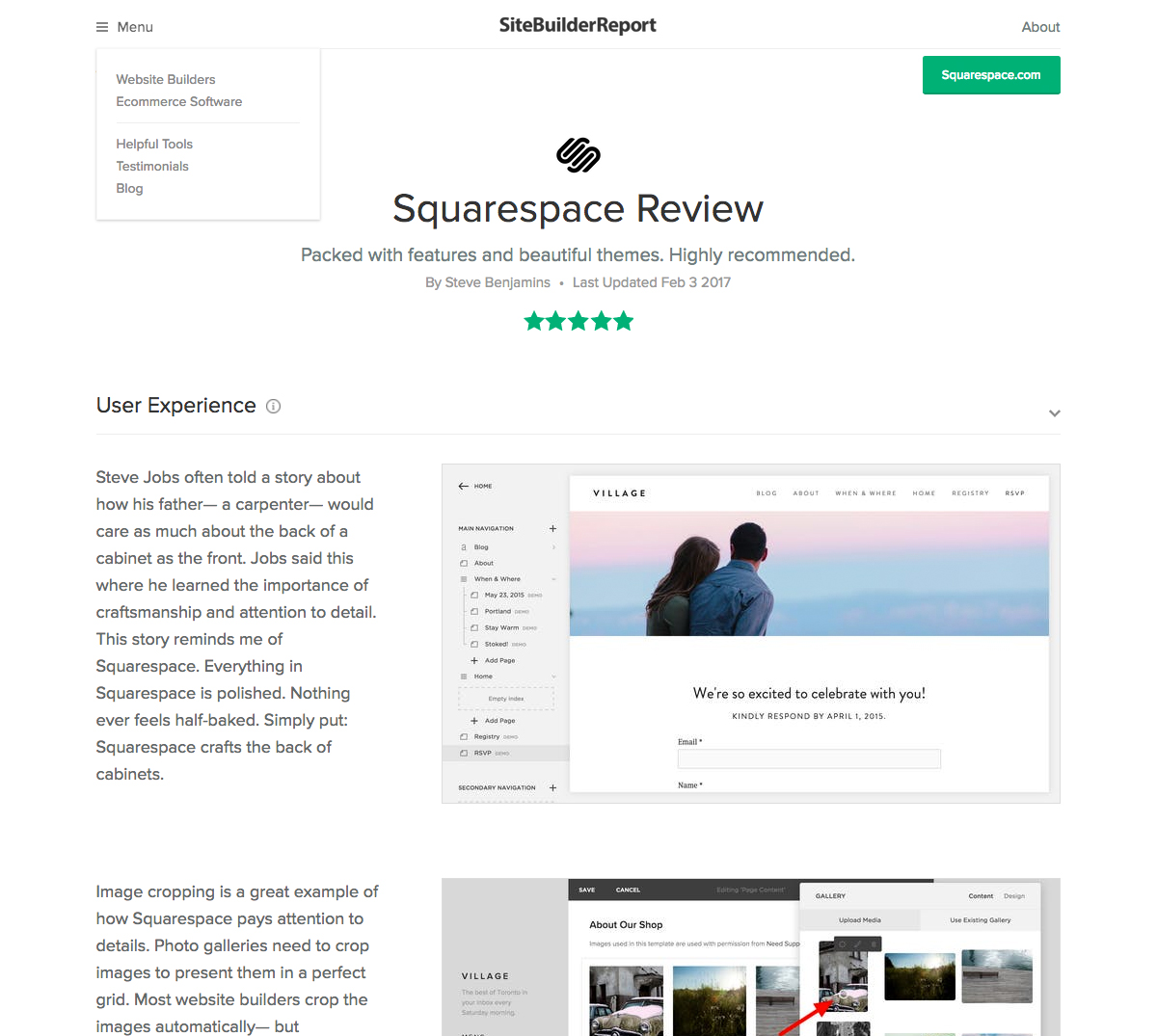 SBR's Editorial on Squarespace
